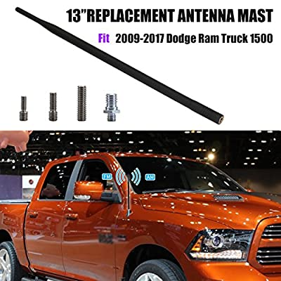 """for Dodge Ram 1500/2500/3500 Truck 2009-2017   13"""" Antenna Replacement   4 Mounting Bolts   Installs in Seconds   Black Car Aerial AM FM Radio Antenna Reflex Signal Reception"""