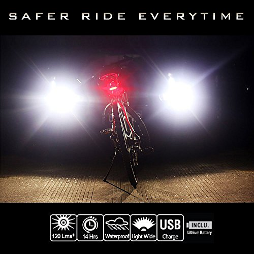 Night Provision 2 COLOR LED Bike Light: DUO 120 Red/White Strobe PSR 120 Police Patrol Red/Blue Strobe Alternating 120 Lumens MAX