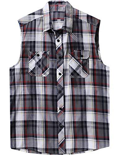 Ma Croix Mens Sleeveless Plaid Flannel Shirt (1AKA0001_M.Gray, X-Large) ()