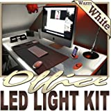 Biltek 6' ft Warm White Office Bookshelf Reading LED Backlight Night Light Dimmable Remote Control Kit - Under Desk Hutch Drawers Bookshelf Reading Glass Case Waterproof Flexible DIY 110V-220V