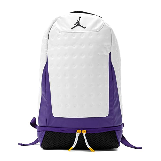 Nike Air Jordan Retro 13 Backpack (One Size, White/Purple)