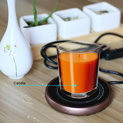 Electric Coffee Mug Warmer and Beverage Warmer Waterproof Glass Panel Electric Heater Plate with 63 Inches Long Cord Great for Office Home (black-warmer, single) by HEYANG (Image #6)