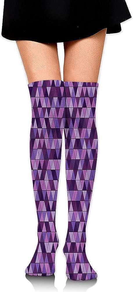 Over Knee High Socks Triangle Grid Pattern Mosaic Tile in Lavender Plum Purple Amethyst Tones of Color,60CM