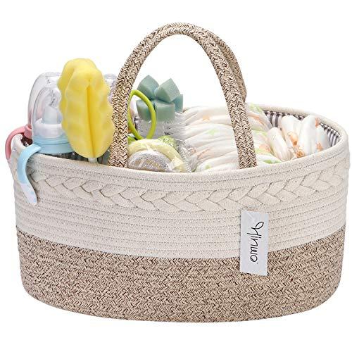 Hinwo Baby Windel Caddy 3-fach Säugling Kinderzimmer Einkaufstasche Tragbarer Auto Organizer Neugeborene Dusche Geschenkkorb Baumwollseil mit abnehmbarem Teiler für Windeln & Tücher