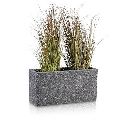 Pflanztrog Blumentrog VISIO Fiberglas Blumenkübel - Farbe: grau strukturiert - großer wetter- und winterfester Pflanztopf für Innen & Außen, robuster & UV-beständiger Pflanzkübel