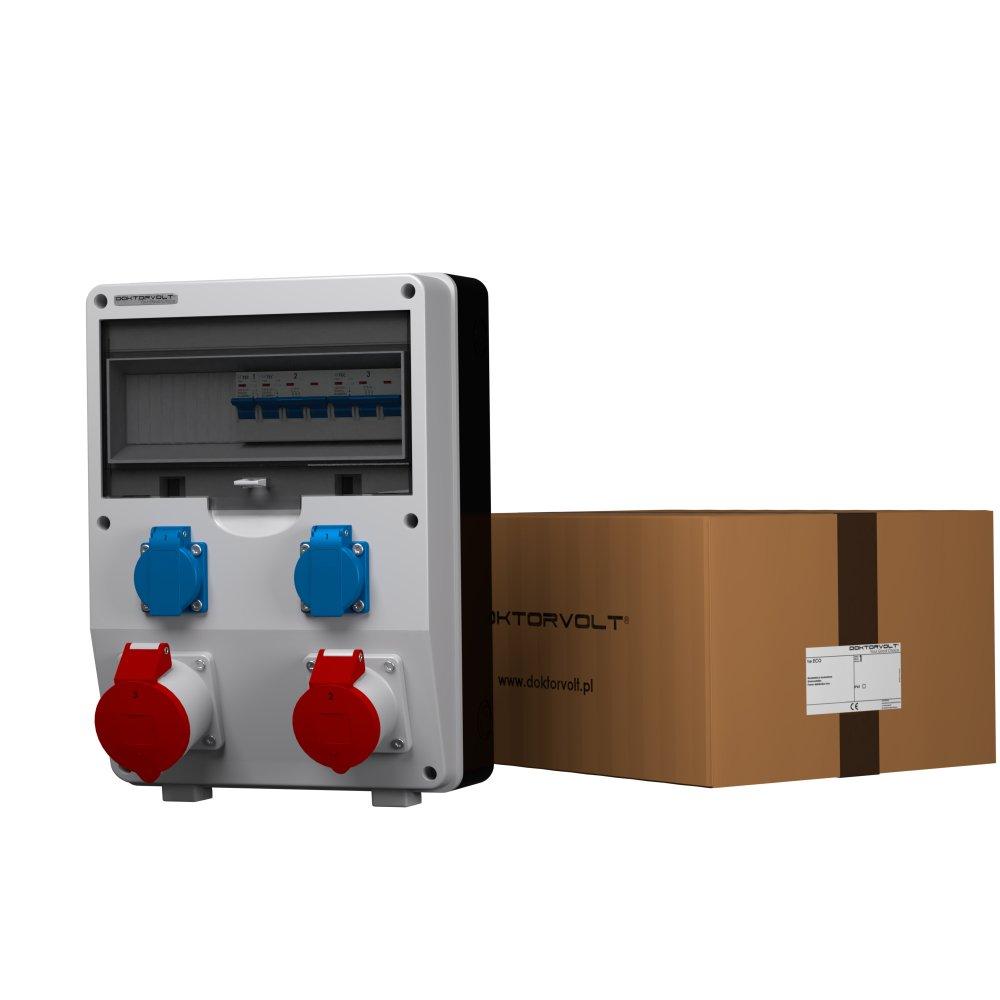 Distribuidor de corriente (2619) ECO-S, 1 mó dulo de 16 A, 1 mó dulo de 32 A y 2 mó dulos de 230 V, empotrable 1 módulo de 16 A 1 módulo de 32 A y 2 módulos de 230 V Doktorvolt
