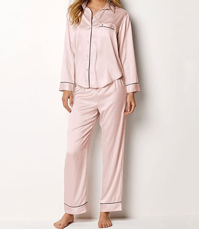 Victoria s Secret Women s 2 Piece Satin Afterhours PJ Pajama Pants Set at  Amazon Women s Clothing store  7618cb7bf