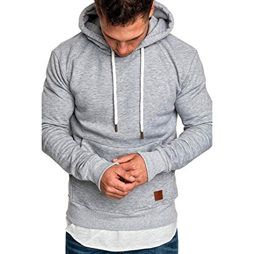 Realdo Big Promotion Mens Solid Casual Hoodie Autumn Winter Top Tracksuit with Pocket Clearance Sale