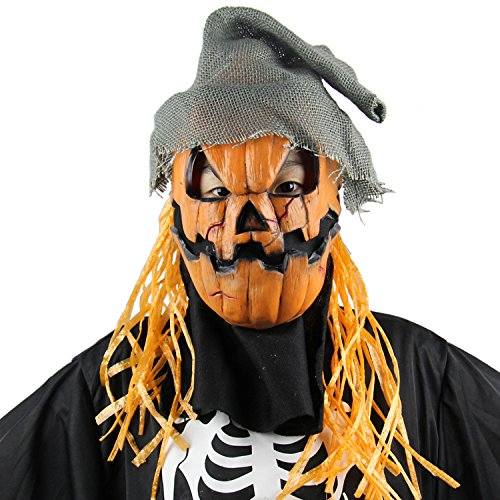 Zombie Scarecrow Mask (MARIAN Halloween Party Scary Masks Pumpkin Scarecrow Latex Masks)