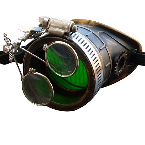 Steampunk Victorian Goggles welding Glasses monocle green lens left - Anime Eyes Glasses