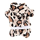 Pet Jumpsuit,Puppy Winter Warm Clothes Leopard Outfit Soft Hoodie Coat Coffee