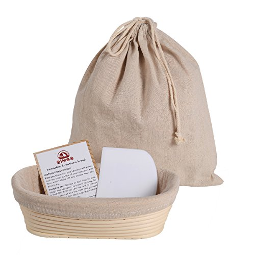 Oval 10 inch Banneton Proofing Basket Baking Set (500g Dough) for Rising Sourdough Bread with Bowl Scraper & Brotform cloth Liner & Artisan Bread Loaf Bag by QIMOO