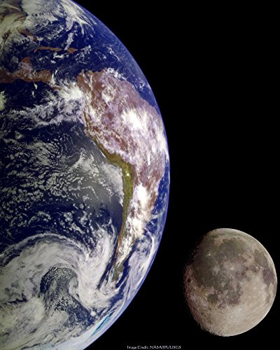 Set of 2 NASA Space Prints: Earth Moon Rise and Full Moon Prints