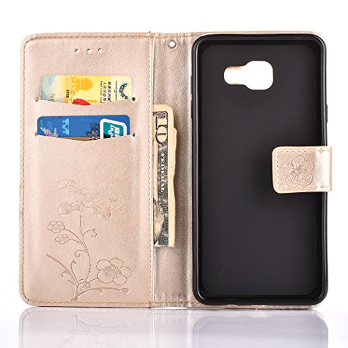 For Samsung Galaxy A7 2016 Case , Samsung Galaxy A7 2016 Cover - Cozy Hut Elegant Relief Dandelion Patterned Embossing PU Leather Case, Credit Card Holder, Cash Wallet, Built Stand, Magnetic Closure, Golden