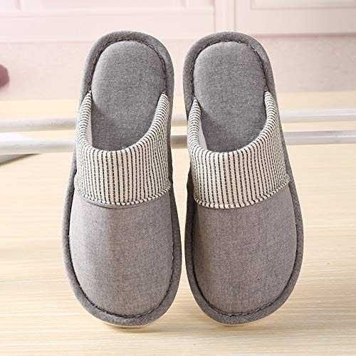 Comfortable Soft Touch Autumn Thin Cotton Home Shoes Couple Models Female Male Non-Slip Floor Slippers Baotou Japanese Single Slippers Cotton Slippers Color : Grey, Size : 1 Lihin Warm