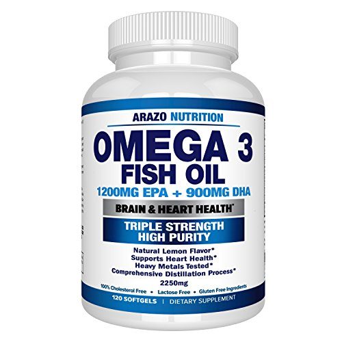Omega 3 Fish Oil 2250mg | HIGH EPA 1200MG + DHA 900MG Triple Strength Burpless Capsules | 120 ...