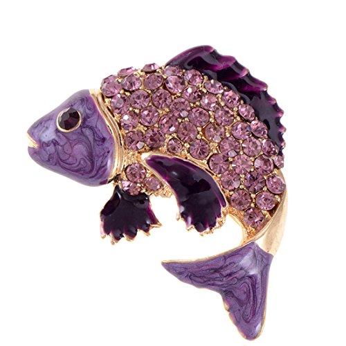 Vintage Fish Pin (Alilang Koi Fish Pin Brooch Golden Tone Enamel With Aqua Blue, Green Or Purple Crystal Rhinestones)