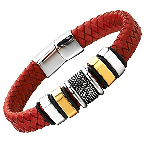 COOLSTEELANDBEYOND Mens Red Braided Leather Bracelet Genuine Leather Wristband with Stainless Steel Ornaments and Clasp -