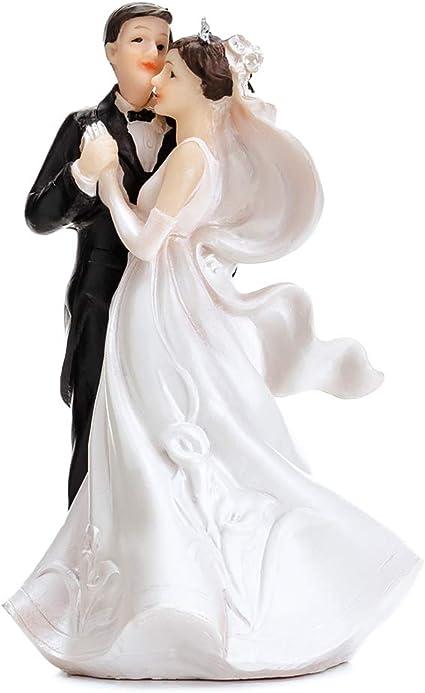 """Brautpaar Hochzeitspaar Tortenaufsatz Tortenfigur Cake Topper /""""Getragen/"""" 13 cm"""