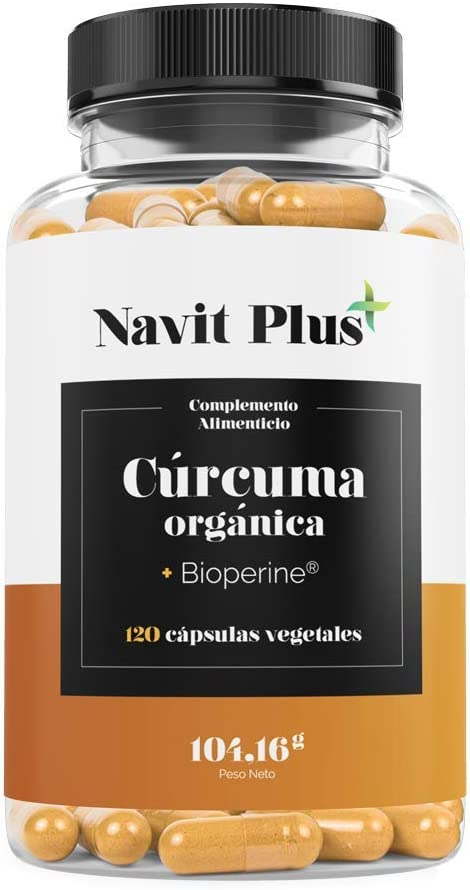 Cúrcuma Orgánica 1490mg con BioPerine®. Suplemento Nº 1 en Cúrcuma. Antioxidante natural. 120 cápsulas vegetales con ingredientes de máxima calidad. Cúrcuma ecológica 100% natural. ISO 9001.