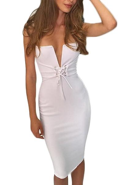 a0c4cce367ac Vestiti Donna Eleganti Corti Ginocchio Ragazza Vestito Tubino Estivi Senza  Maniche Sundresses V Scollo Primavera Abito
