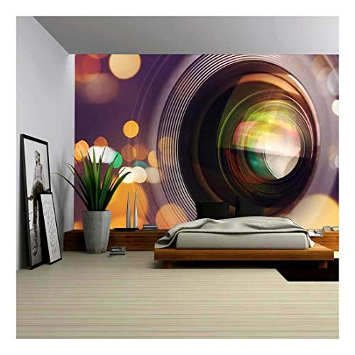 wall26 - Photographic Camera Lens Front Glass with Bokeh Light, Macro Shot - Removable Wall Mural | Self-Adhesive Large Wallpaper - 100x144 inches