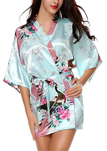 Mujer Pijama Honoursport Camisón Azul Albornoz Sexy Pavo Claro Pava Satén De Corto Vestido qAR15A