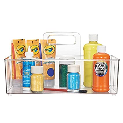 MDesign Craft And Sewing Supplies Storage Organizer Tote For Paint,  Glitter, Ribbons   Clear