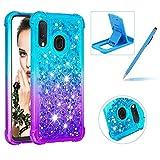 Herzzer Liquid Clear Case for Samsung Galaxy A20E/A10E,Soft TPU Cover for Samsung Galaxy A20E/A10E, Luxury Creative Blue Purple Gradient Color Love Hearts Quicksand Flexible Crystal Case