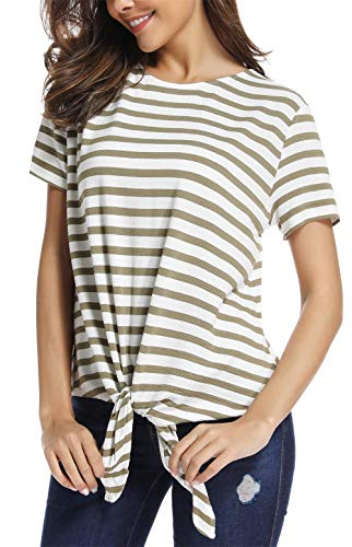 SINRGAN Women's Short Sleeve Tie Front Knot Striped Casual Loose Fit Tee T-Shirt, ArmyGreen, Medium