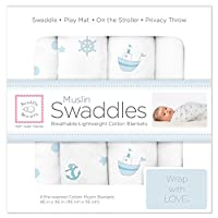 SwaddleDesigns Cotton Muslin Swaddle Blankets, Set of 4, Pastel Blue Ships Ah...