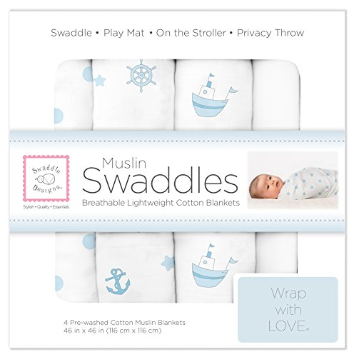 SwaddleDesigns Cotton Muslin Swaddle Blankets, Set of 4, Pastel Blue Nautical Ships Ahoy! ()