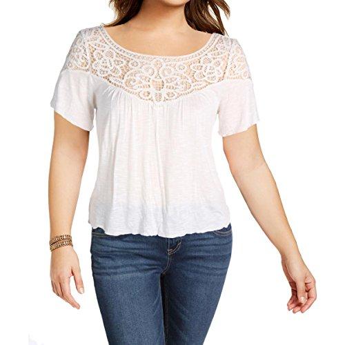 RALPH LAUREN Denim & Supply Womens Burnout Lace Trim Pullover Top (Small, Natural)