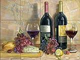 Ceramic Tile Mural - Bread and Wine - by Theresa Kasun - Kitchen backsplash / Bathroom shower