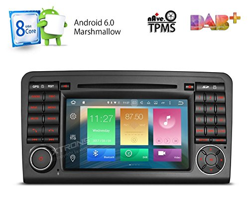 XTRONS Android 6.0 Octa-Core 64Bit 7 Inch Capacitive Touch Screen Car Stereo Radio DVD Player GPS CANbus Screen Mirroring Function OBD2 Tire Pressure Monitoring for Mercedes-Benz ML-W164 by XTRONS