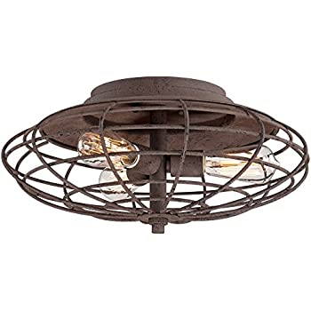 Industrial Cage Dark Rust 8 1 2 Quot High Ceiling Light