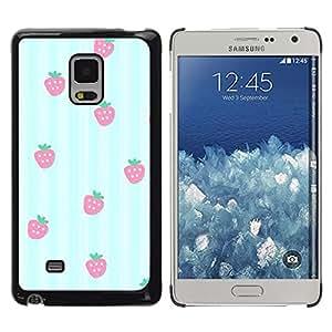 Be Good Phone Accessory // Dura Cáscara cubierta Protectora Caso Carcasa Funda de Protección para Samsung Galaxy Mega 5.8 9150 9152 // blue white lines strawberry pattern