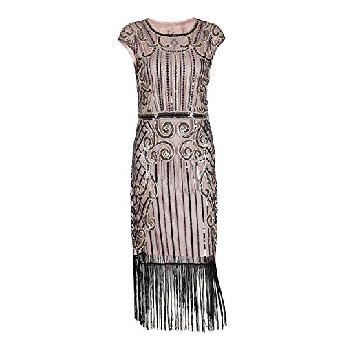 Evening Sequin Dress 1920s Vintage Inspired Beaded Embellished Fringe Long Gatsby Flapper Dress (M, Beige (Vintage Flapper Dresses Online)