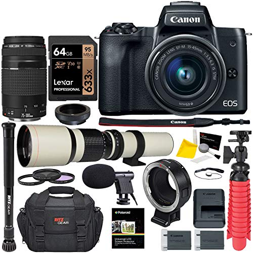 Canon M50 Mirrorless Camera Lens Bundle; 15-45mm is STM, 75-300mm III, 500mm,...