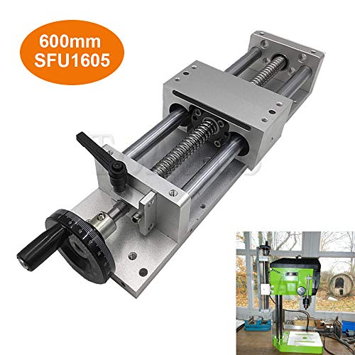 Manual Linear Stage Sliding Table Ballscrew 1605 Linear Guides Cross Slide Table SFU1605 Travel length L100/200//300/400/500/600mm (600mm)
