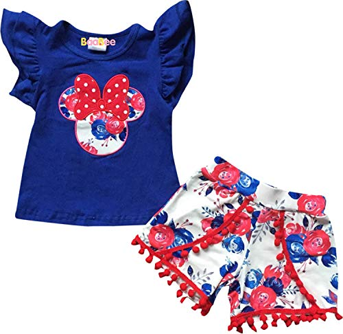 Boutique Baby Girls July 4th Patriotic Minnie Mouse Top Shorts Set Blue Red 18-24M/XS