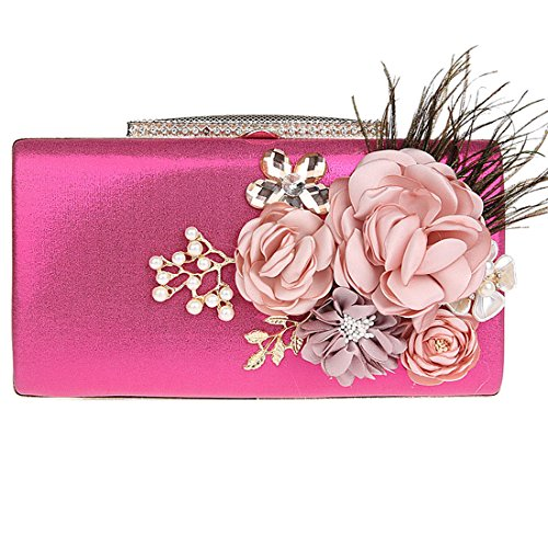 Party Bag red Fashion Wedding Clutch Bridal Satin Women's KAXIDY Rose Floral Prom Bag Evening xpacZ0P
