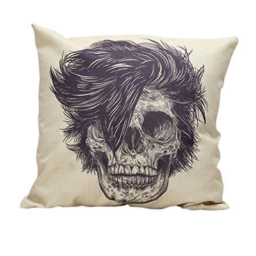 Charberry Halloween Skull Pillow Case Sofa Waist Throw Cushion Cover Home Decor (F) (Candy Skull Costume)
