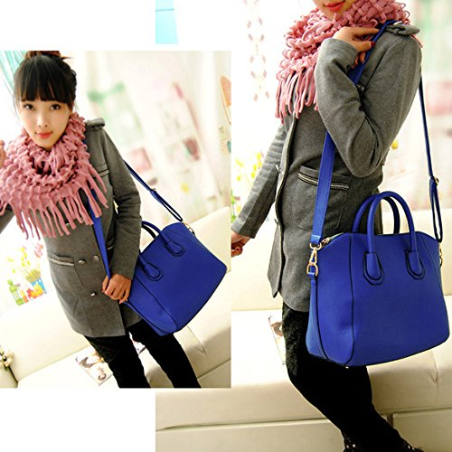 Vktech Women Handbag Fashion Shoulder Bags Tote Purse Frosted PU Leather Bag (Blue)