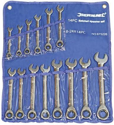 Silverline 14 pz - 675226 Set di chiavi combinate a cricchetto