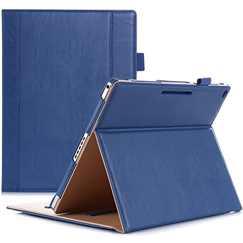 ProCase Google Pixel C Case, Leather Stand Folio Case Cover for 2015 Google Pixel C Tablet 10.2 inch, with Multiple Viewing Angles, auto Sleep/Wake, Document Card Pocket (Navy Blue)
