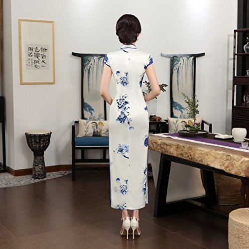 ACVIP Women Cap Sleeve Chinese Paint Floral Maxi Qipao Side Split Cheongsam (China S/Bust:32.3'') by ACVIP (Image #1)