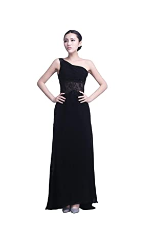 YiYaDawn Womens Long One-Shoulder Prom Dress Lace Evening Gown Size 20 UK Black