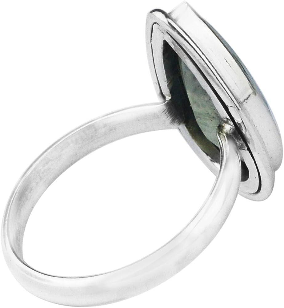 925 Sterling Silver Jewelry Prehnite gemstone/Ring Size 8 US 4.31 g c
