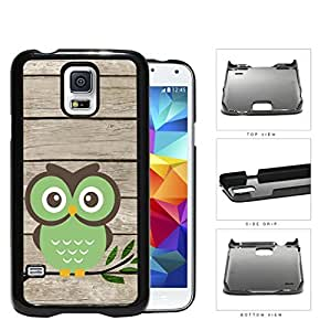 Green Owl On Tree Branch With Wood Pattern Samsung Galaxy S5 SM-G900 Hard Snap on Plastic Cell Phone Cover